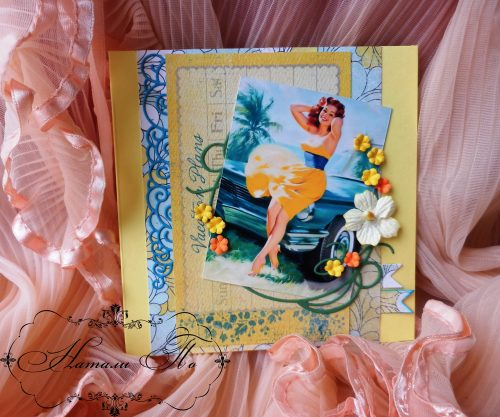 скрапбукинг открытка, Vacation Plans, pin up, Spellbinders, Memory Box